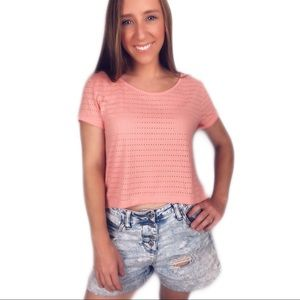 H&M coral pink short sleeve crop top shirt top XS